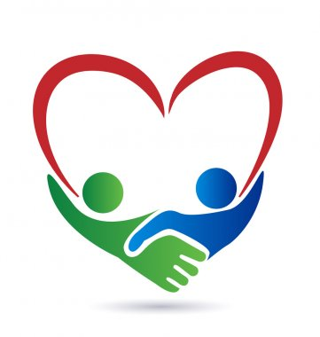 Heart handshake business people logo