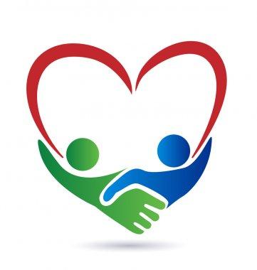 Heart handshake business people logo