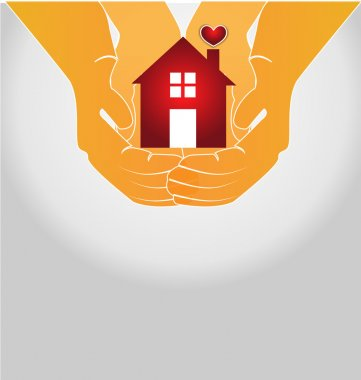House on couple hands logo vector