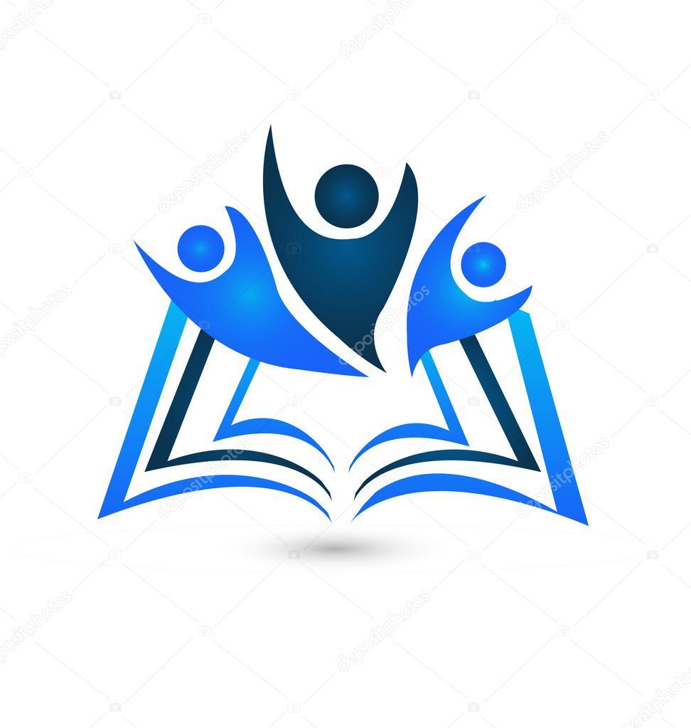 Travail D Equipe Livre Logo Education Symbole Vecteur
