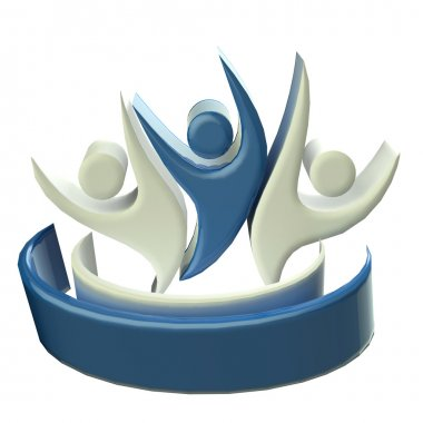 Logo teamwork 3D people icon