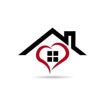 House and heart vector logo