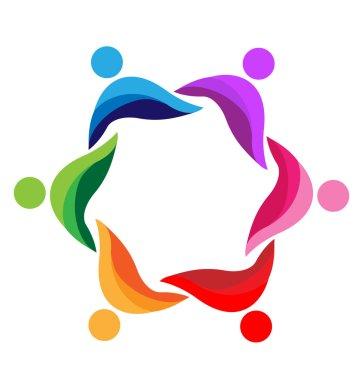 Teamwork united business people logo vector
