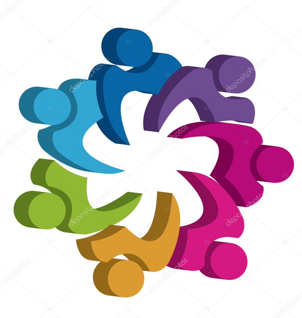 teamwork unity people 3d logo design � stock vector