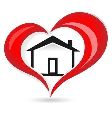 House red heart love logo vector