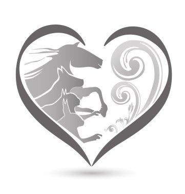 Cat dog horse love heart logo