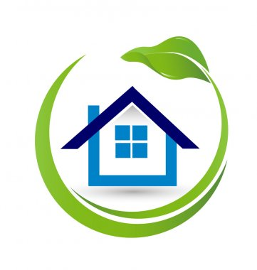 House and leaf- Real Estate logo