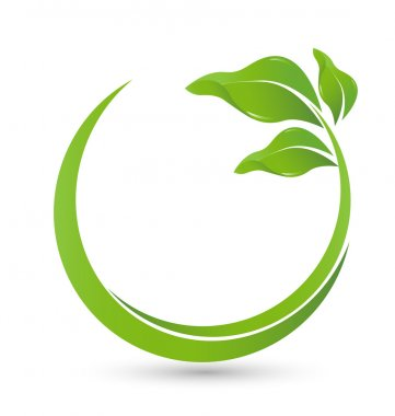 Green healthy leafs logo vector