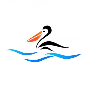Pelican bird on beach vector logo