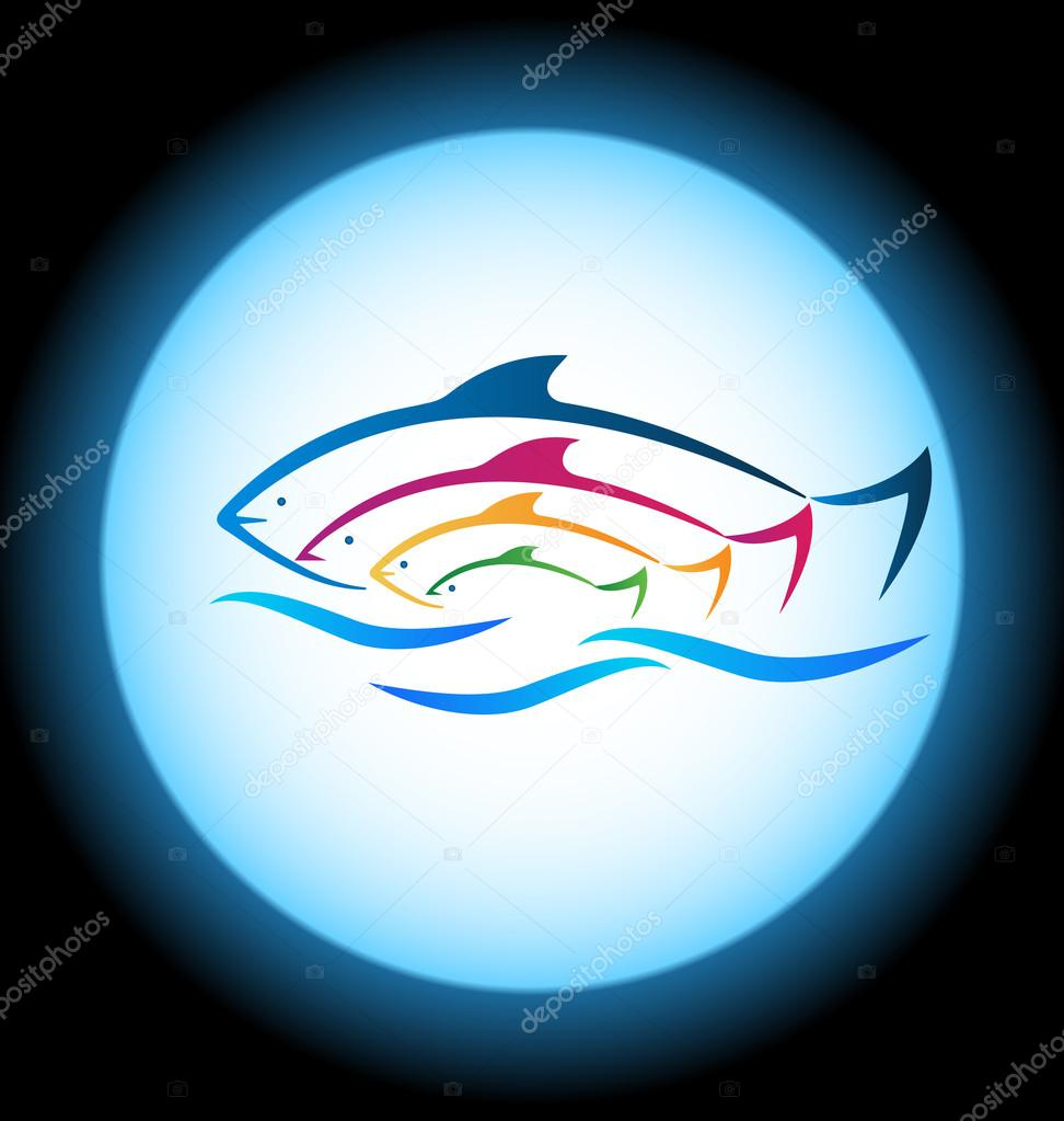Fish and sea frame background logo