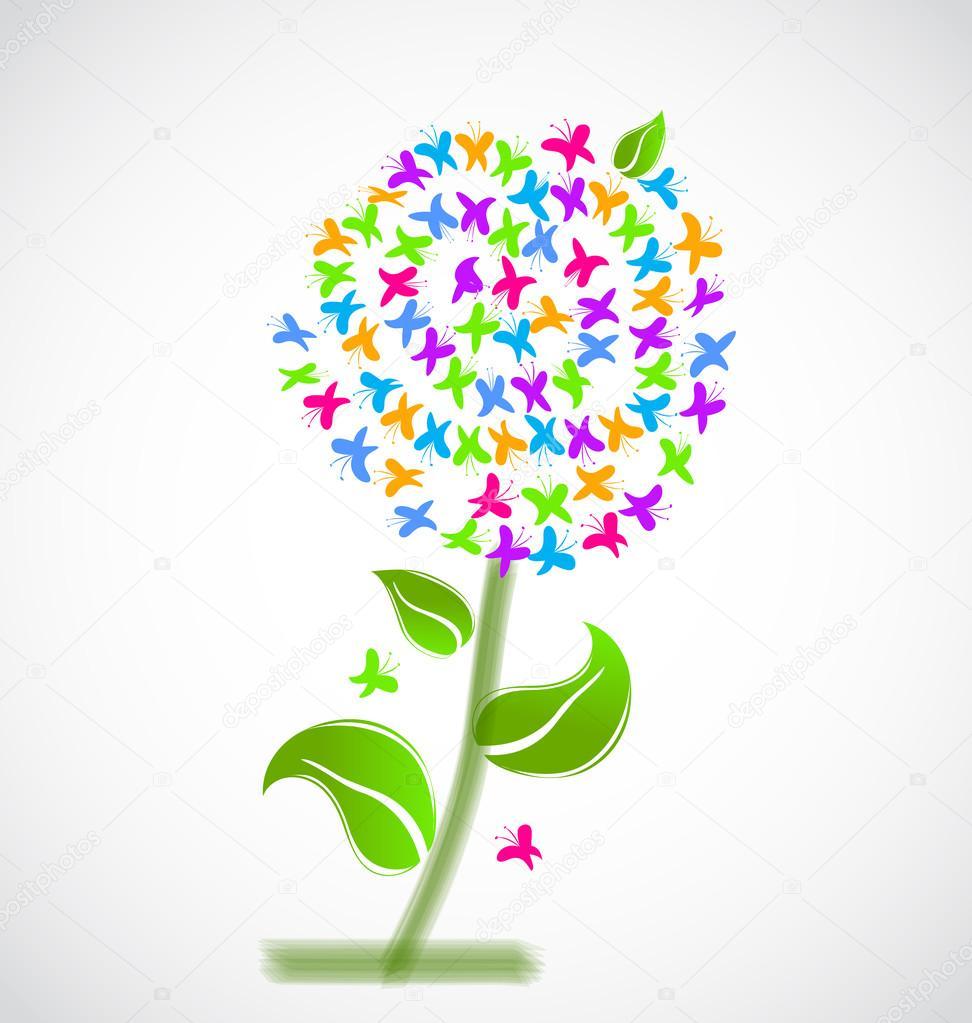 Flower made wih butterflies vecor design logo