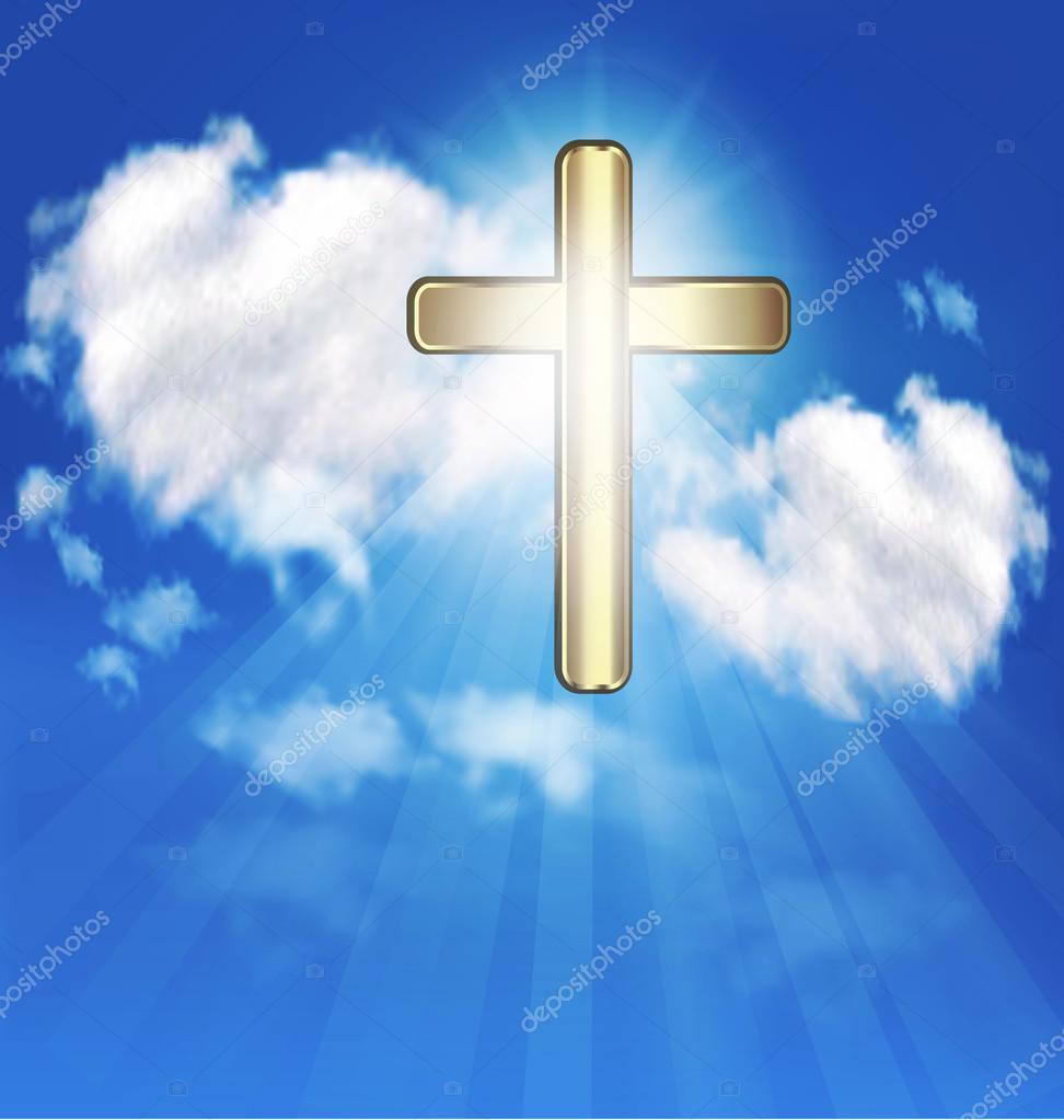 golden cross crucifix symbol of christian faith blue