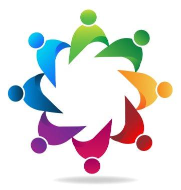 Logo teamwork business unity people vector