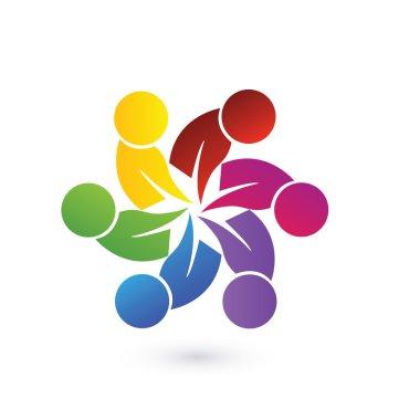 Logo teamwork union people vector