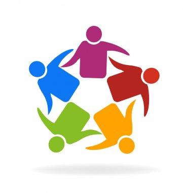 Teamwork meeting friendship logo
