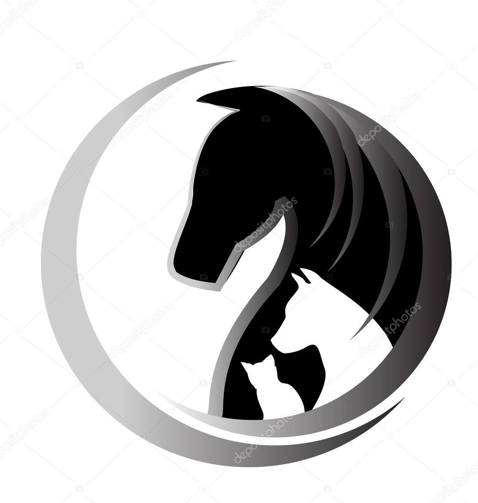 Depositphotos Stock Illustration Horse And Dog Logo Black Circle Vectors Photos