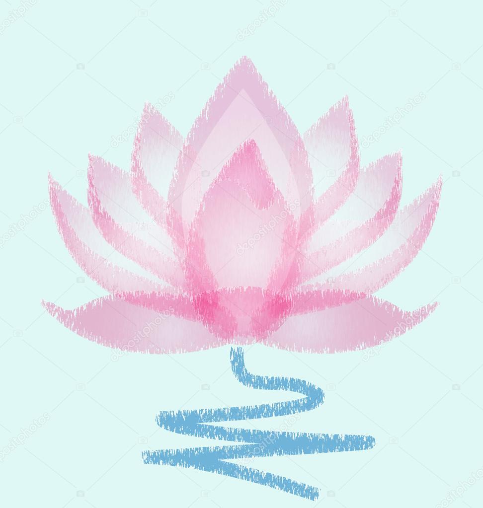 Pink Lotus grunge vector flower