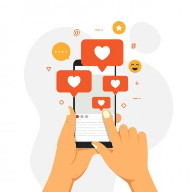 Social Media Influencer Concept Showing people bringing likes and reactions to a social media profile on a smartphone for get engagement. hand with phone vector illustration icon