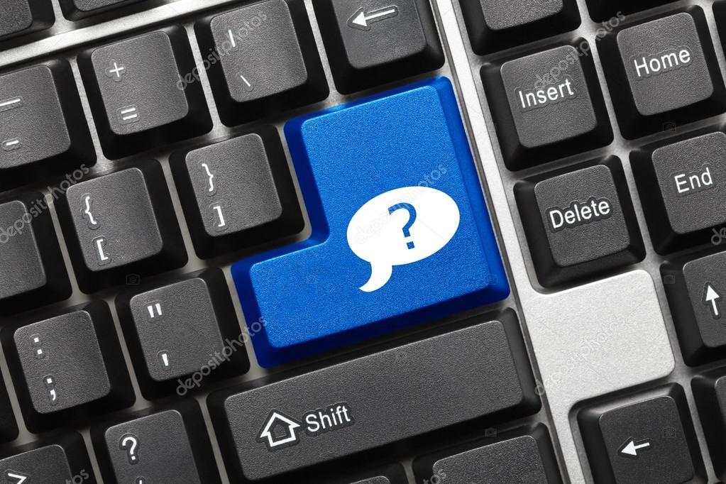 Conceptual Keyboard Blue Key With Question Mark In Dialog Box