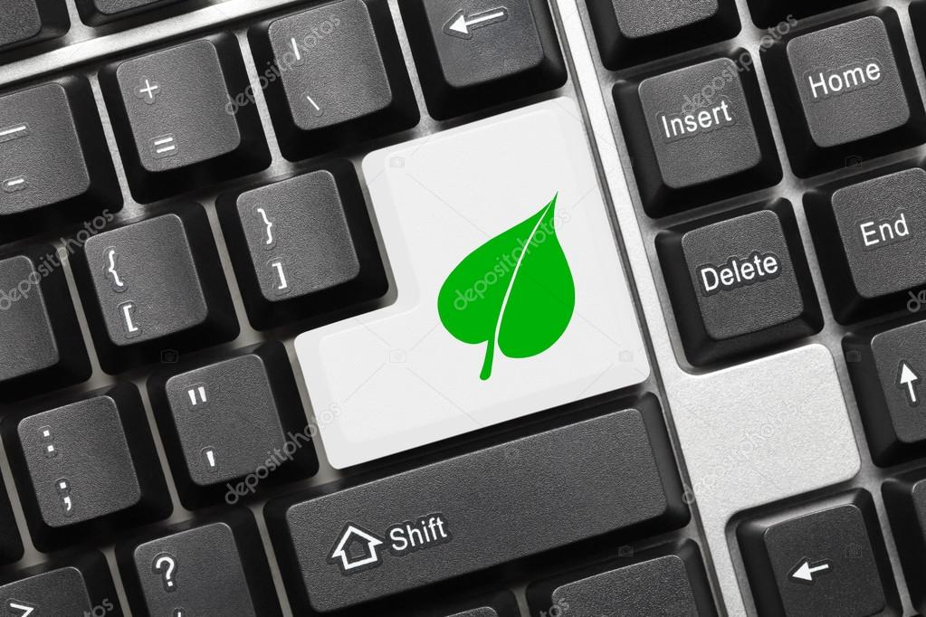 Conceptual Keyboard White Key With Green Leaf Symbol Stock Photo