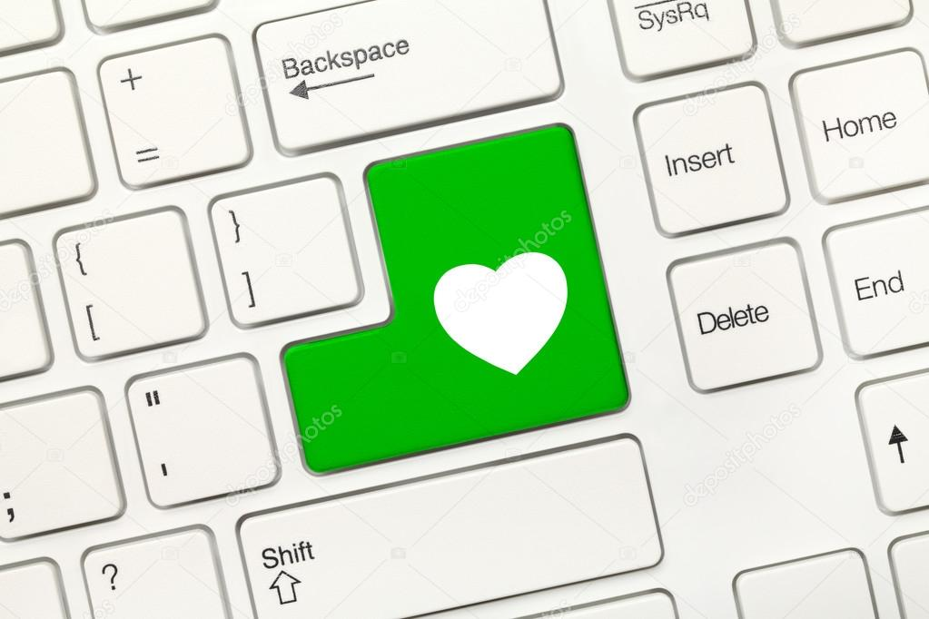 White Conceptual Keyboard Green Key With Heart Symbol Stock