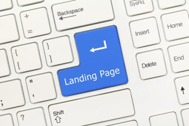 White conceptual keyboard - Landing Page (blue key)