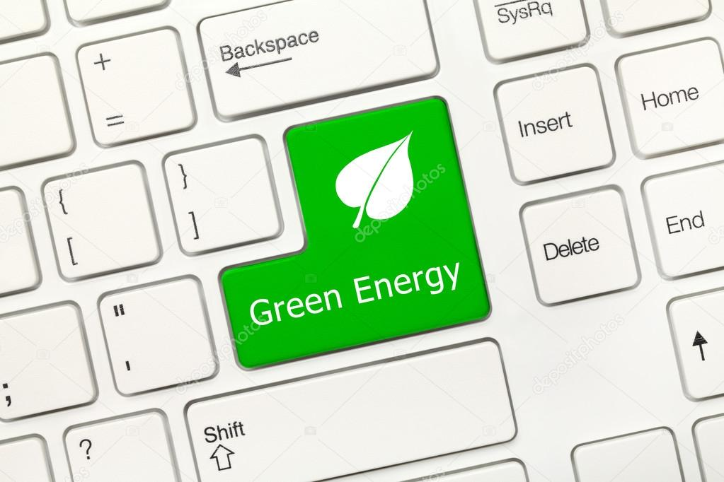 White Conceptual Keyboard Green Energy Key With Leaf Symbol