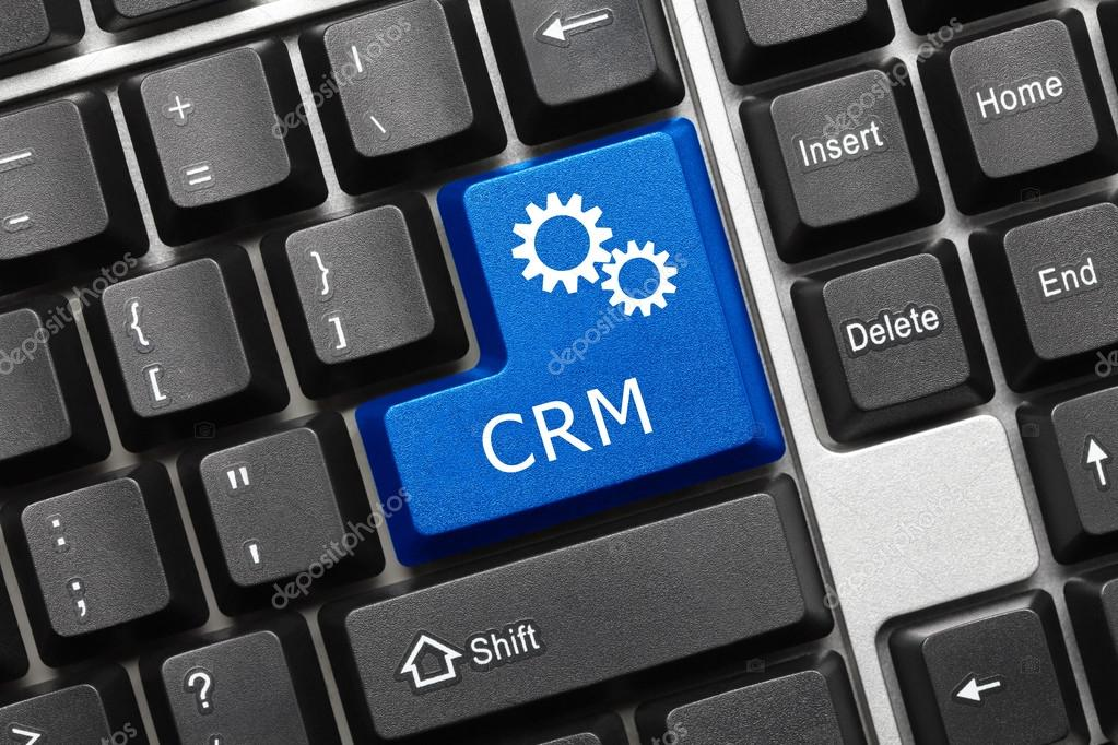 Conceptual Keyboard Crm Blue Key With Gear Symbol Stockfoto