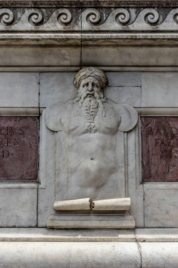 Europe, Italy, Florence, a statue on the side of a building