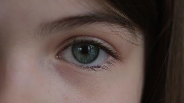 a girls eye, a fragment of a childs face close-up
