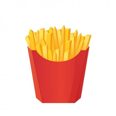 Realistic french fries box. Fastfood concept. Can be used as mockup. Stock vector illustration in cartoon style isolated on white background. icon