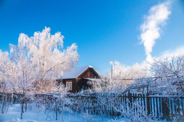 Russian winter frosts house