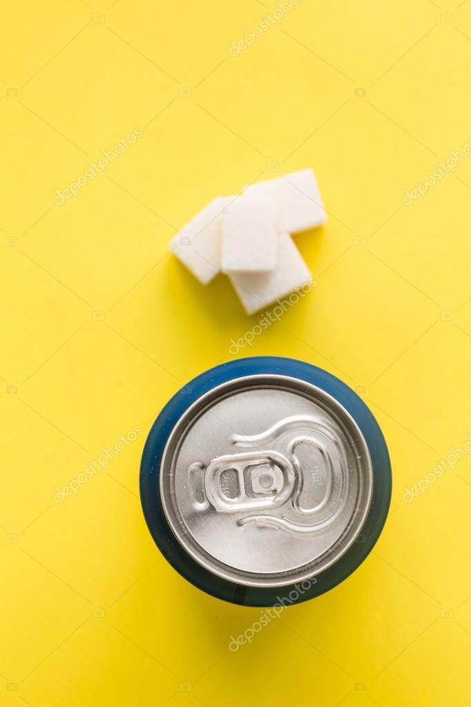 Bank of soda and sugar cubes junk food