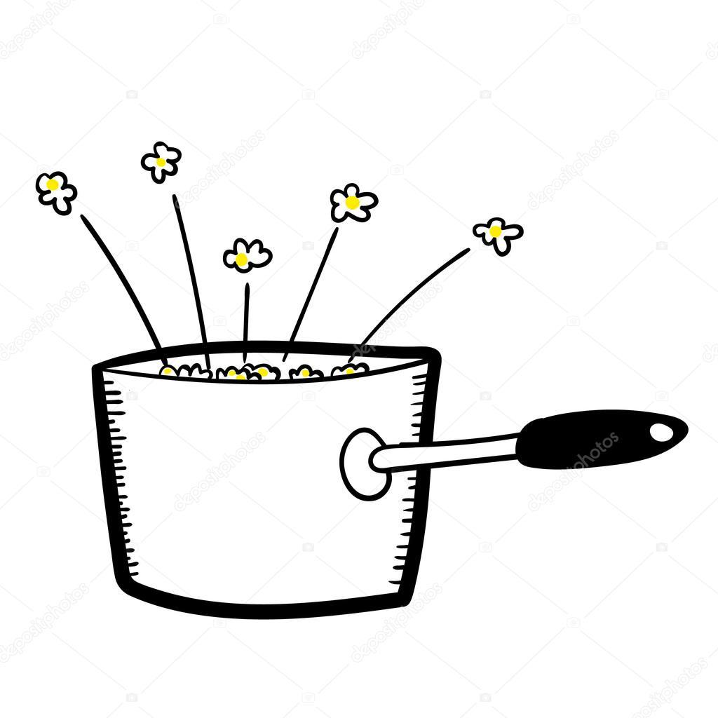 Popcorn In A Saucepan Stock Vector C Thinglass 105132656