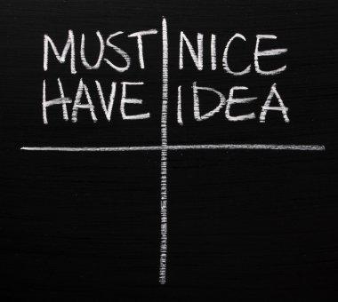 Must Have versus Nice Idea