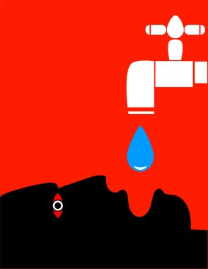 A human head with mouth open beneath a dripping tap as a metaphor for water shortage or aid during drought clip art vector