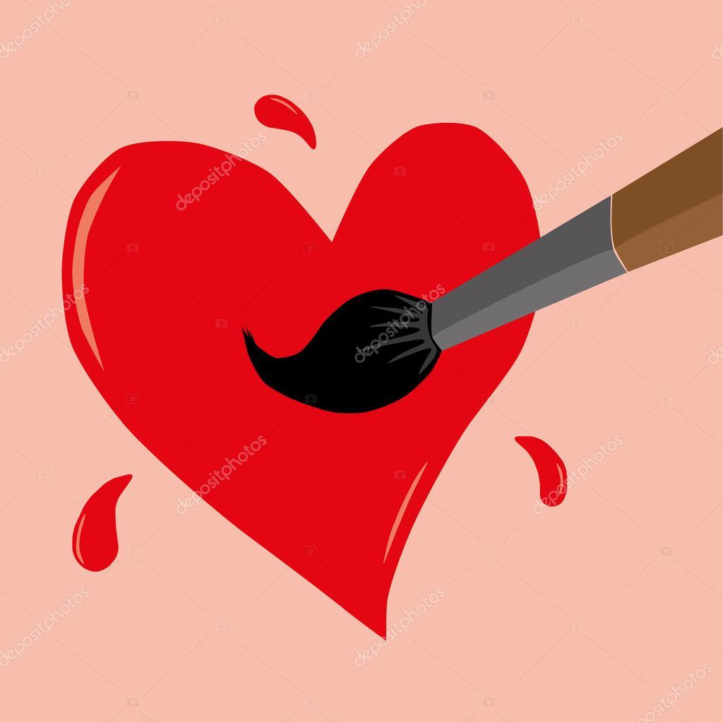 Kırmızı Bir Kalp Boyama Stok Vektör Thinglass 94354884