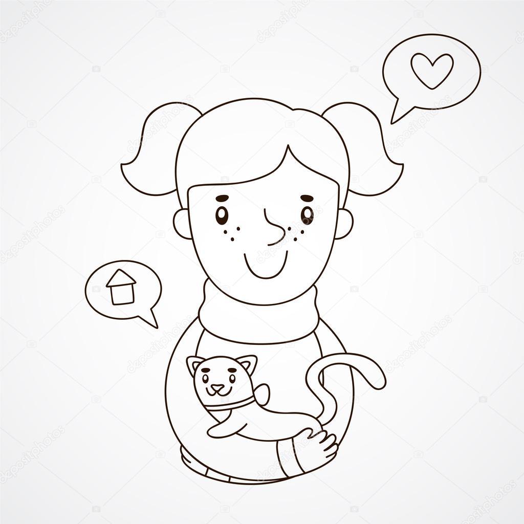 Ilustración de dibujado a mano linda de una niña con un gatito para ...