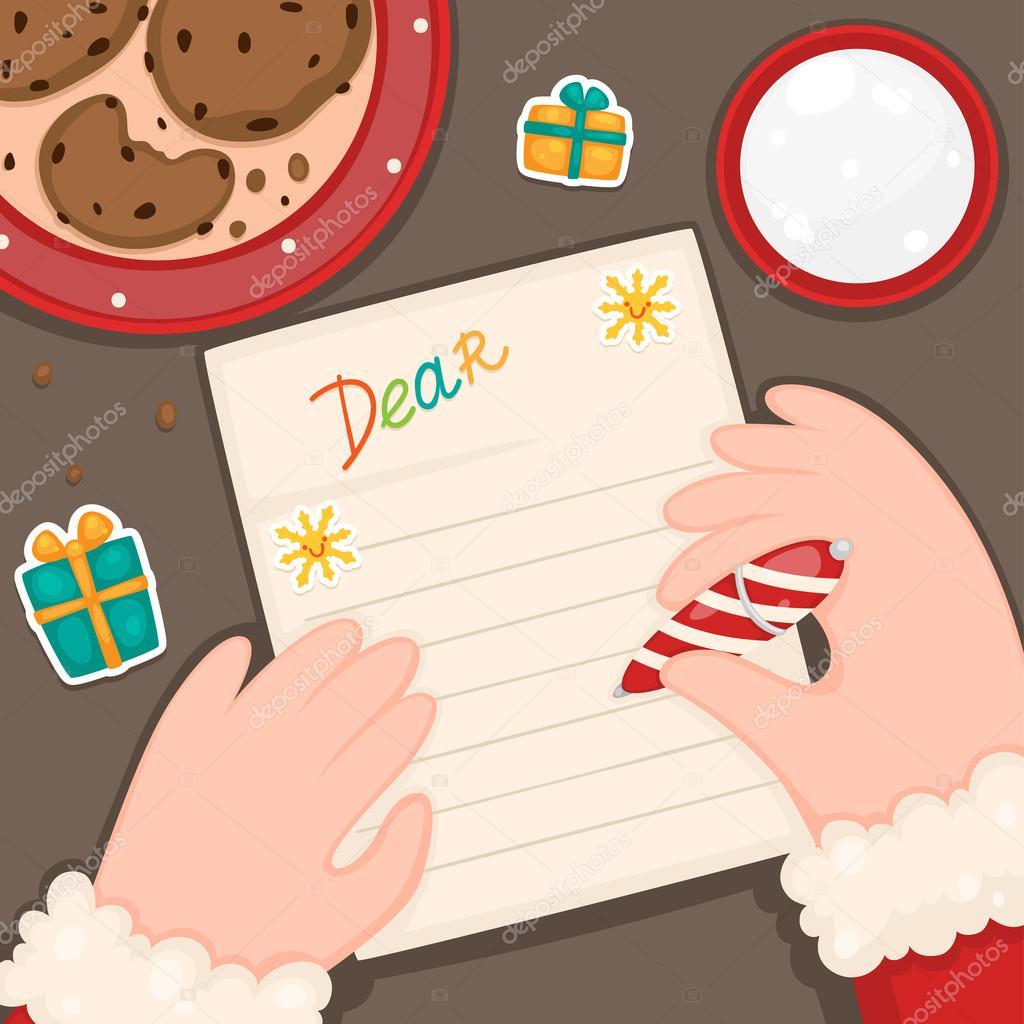 Weihnachten Brief Vom Weihnachtsmann Kinder Vektor Stockvektor