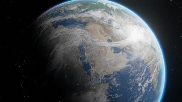 Die Erde im Weltraum wegfliegen. Verlassen des Planeten. Aufnahme der Erde halb beleuchtet in 4k Filmmaterial Elemente dieses Bildes von der NASA zur Verfügung gestellt
