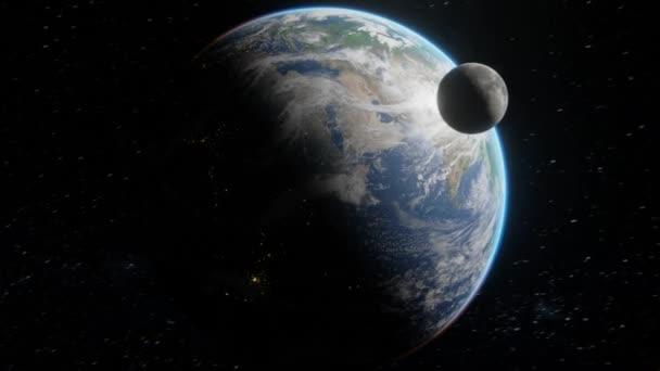 Dinamikus, epikus kép a Föld sötét oldala körül keringő Holdról. Éjszaka az űrből. 4k digitális művészet 3d