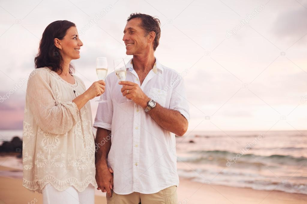 Romantic Couple Drinking Champagne