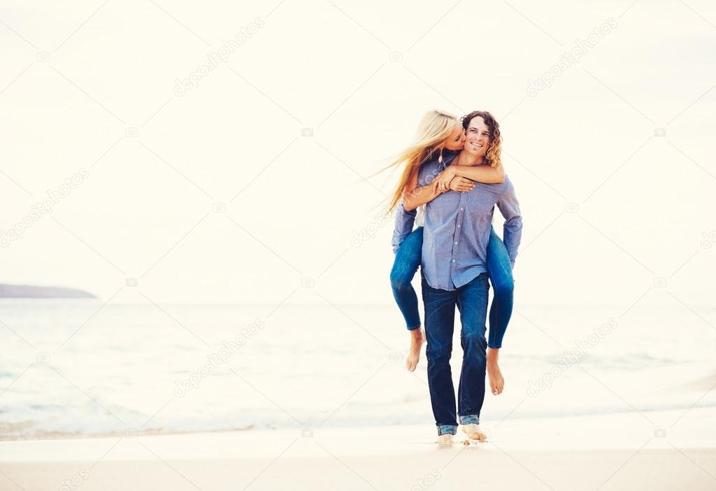 Romantic Young Couple Walking