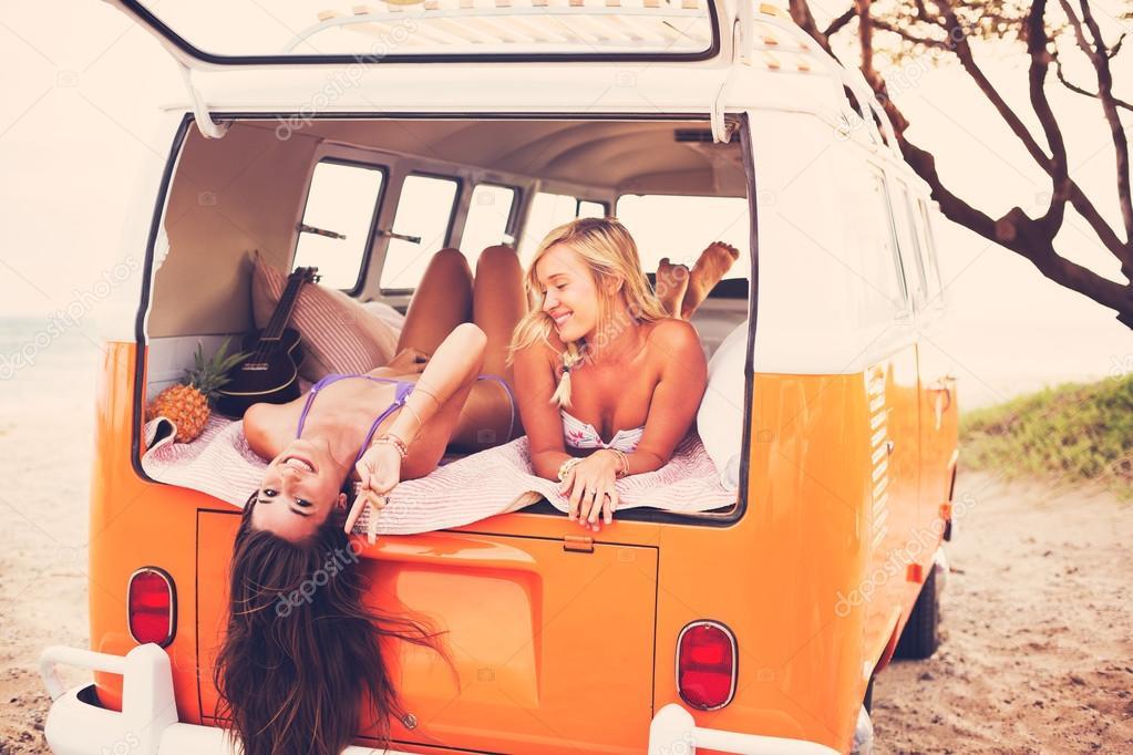 Surfer Girls Beach Lifestyle