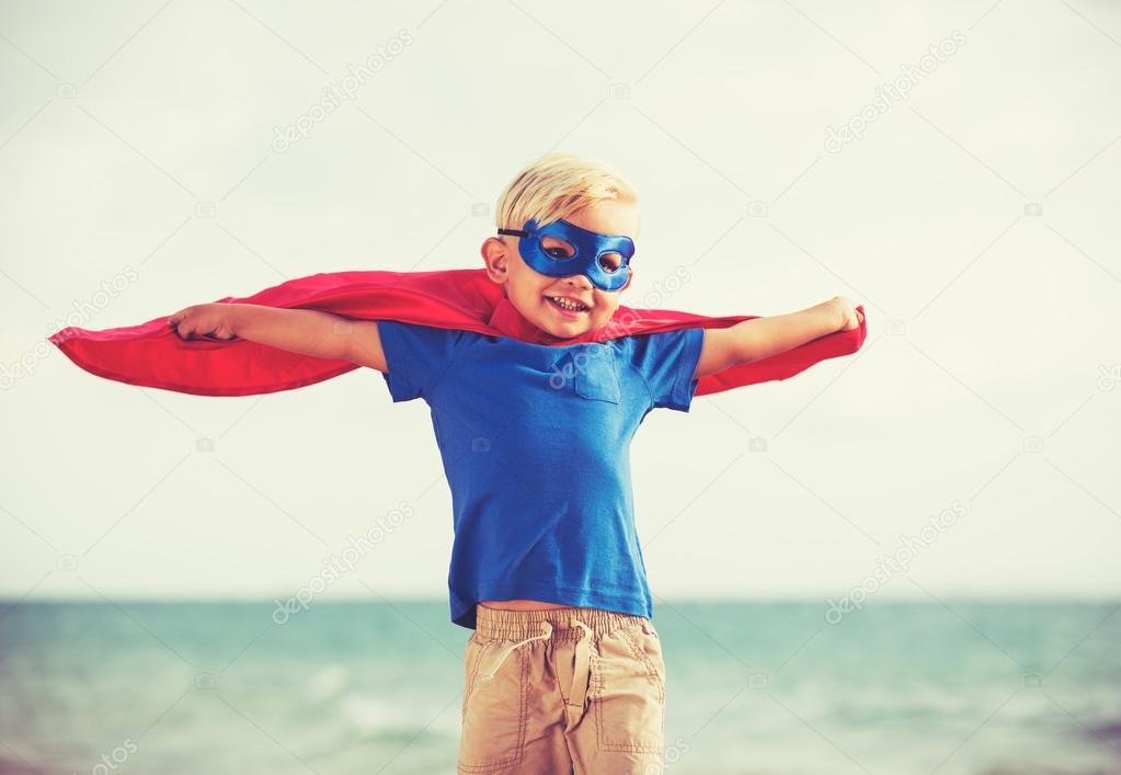 Superhero Kid playing
