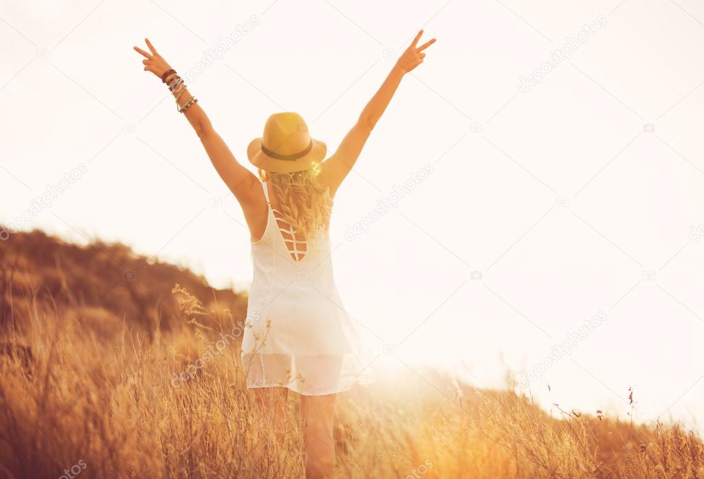 Happy Young Woman Outdoors at Sunset. Fashion Lifestyle.