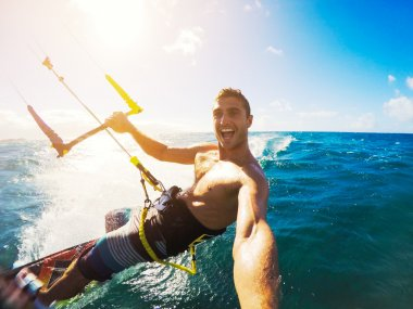 Kiteboarding. Fun in the ocean, Extreme Sport Kitesurfing. POV Angle with Action Camera stock vector