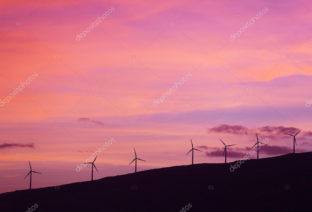 view of Windmills at Sunset