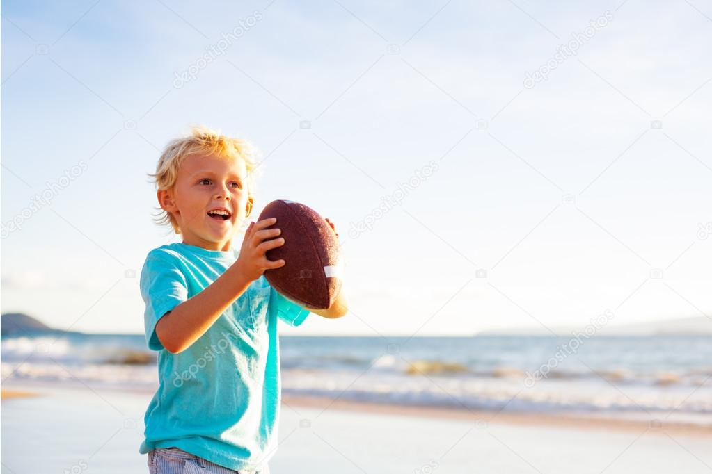 Boy Plaing Catch Throwing Football