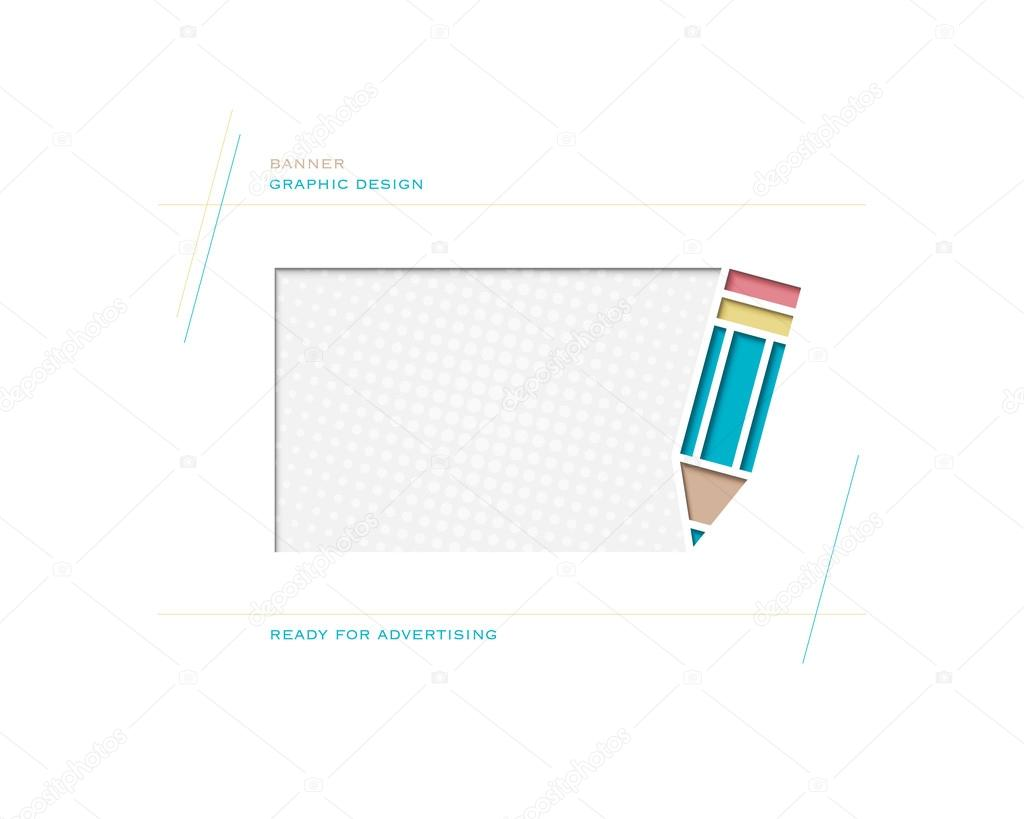 new abstract frame with blue pencil symbol and space for text